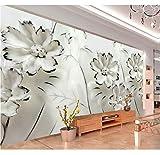 3D Wandbilder Tapete Druck Jade Weiße Blumen Fototapete Parede De Parede, 260X180 Cm (102,36X70,87 In)