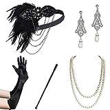 ArtiDeco 1920s Flapper Set Damen Gatsby Kostüm Accessoires Set Inklusive Stirnband Halskette Handschuhe Ohrringe Zigarettenhalter (Set-10)