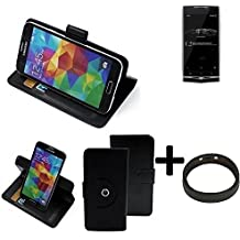 TOP SET: 360° Funda Smartphone para Uhans U100, negro + anillo protector | Función de stand Caso Monedero BookStyle mejor precio, mejor funcionamiento - K-S-Trade