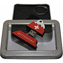 Souvenir Schweiz Matterhorn | Geschenkidee: USB-Stick mit Schlüsselanhänger in Form des Matterhorns für Frauen & Männer | inklusive Fotogalerie von SchweizerSehenswürdigkeiten | Memory Stick 8 GB | CultourStix