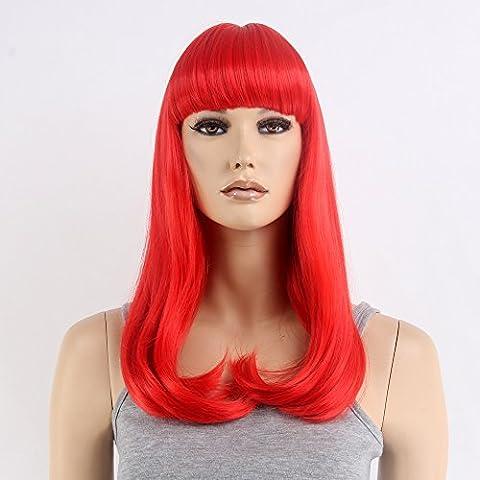 Stfantasy des Perruques pour femme longue lisse résistant à la chaleur Cheveux synthétiques 55,9cm 200g avec frange Perruque Peluca gratuit Cheveux Net + Clips, Rouge