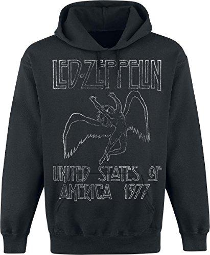 Led Zeppelin USA 1977 Felpa con cappuccio nero L