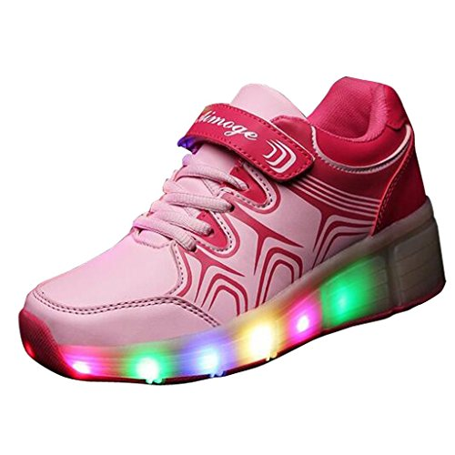 Fortuning's JDS Unisex Einzelrad Riemenscheibe LED blinkende leuchtende Turnschuhe justierbare Rochen Rollschaufeln Pink