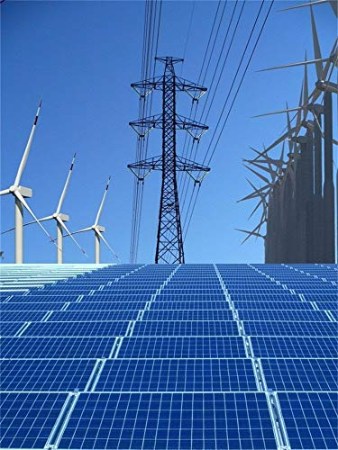 vrupi 4X5FT Vinyl Photography Background Outdoor Blue Tone Photo Backdrop Solar Panels High-Voltage Tower Wind Turbine Blue Sky Backdrop Technology Innovation Portraits Shooting Video Studio -