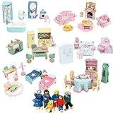 Le Toy Van Puppenhausmöbel Set Daisylane 6 Zimmer + Biegepuppen-Set - Puppenhaus Möbel -...