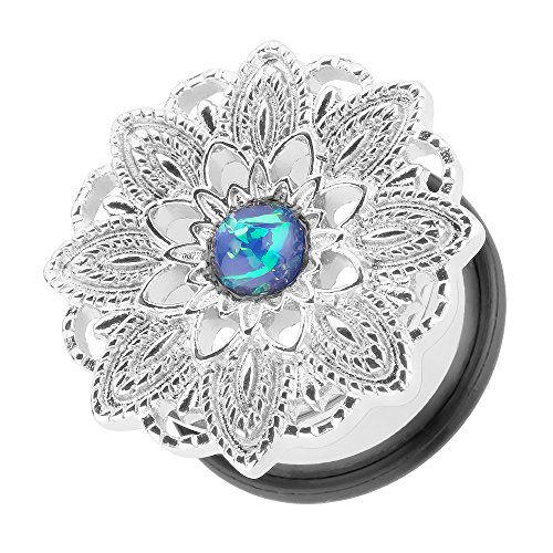 Piercingfaktor Flesh Tunnel Ohr Plug Piercing Ohrpiercing Vintage Tribal Ethno Boho Edelstahl Mandala Blume mit Opal Silber 8mm