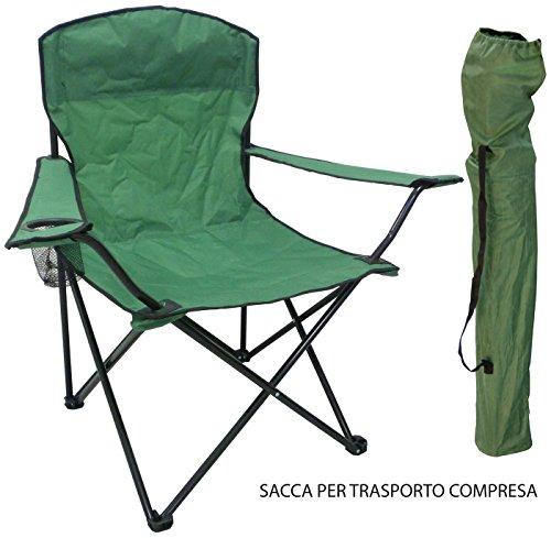 Sedia Poltrona per spiaggia mare campeggio pescatore verde con sacca