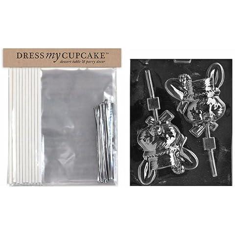 Dress My Cupcake DMCKITE042 Candy Chocolate Lollipop Packaging-Kit con stampi Pasqua coniglio lecca lecca, grande, donna