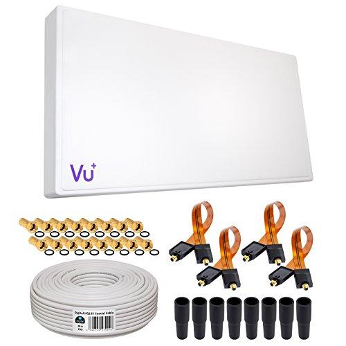 SAT KOMPLETT SET von HB-DIGITAL: Hochleistungs-Sat-Flachantenne ✨ H38D4 QUAD 4 Teilnehmer Direkt ➕ Fensterhalterung ➕ 30m HQ-135 SAT-Kabel ➕ 4x SAT Fensterdurchführung GOLD ➕ 16x F-Stecker vergoldet ➕ 8x Gummitüllen ■ FULL HD TV 3D 4K ■