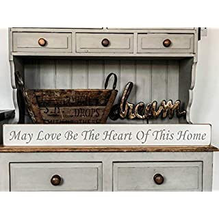 'May love be the heart of this home' large handmade wooden sign by vintage product designer Austin Sloan
