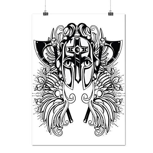 Krieger Maske Gesicht Fantasie Rüstung Erhebt euch Mattes/Glänzende Plakat A3 (42cm x 30cm) | Wellcoda