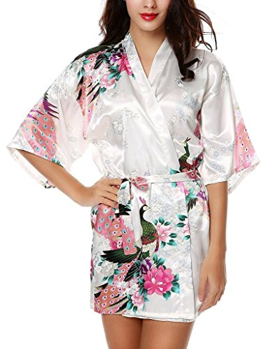 Women's Lingerie Peacock and Blossoms Kimono Robe Sleepwear Gown-Short Style