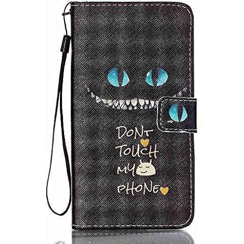 Funda de Cuero para Samsung Galaxy J7 (2016) - Yihya Cierre Magnético Dibujos Carcasa Tarjeta Slot Soporte Stand Función Flip Wallet Case Cover con Lanyard Strap + Stylus Pen--Estilo
