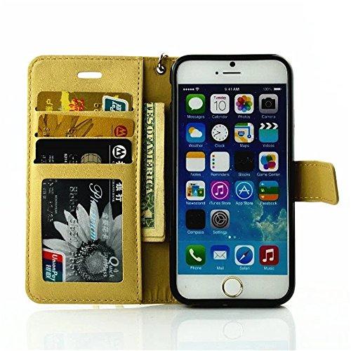 Forepin® Flip Hülle Schutzhülle Handy Zubehör Schale Hart Cover Case Etui mit Strass Diamant Für iPhone 5/5S/SE 4.0'' Gelb