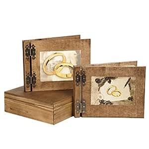 hochzeitsgeschenk g stebuch fotoalbum mit schatulle aus holz 2 motive hochzeit. Black Bedroom Furniture Sets. Home Design Ideas