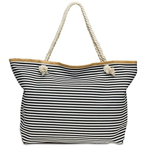 CASPAR TS1024 Sac de plage XXL à rayures pour femme - Sac shopping classique avec imprimé marin, Couleur:noir;Taille:One Size