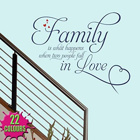 Family Is What Happens 2 - Wall Decal Quote Sticker lounge living room kitchen dining bedroom (Large) by Wondrous Wall Art