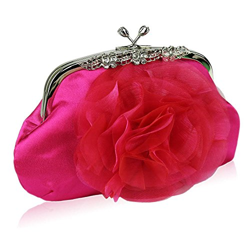 TrendStar Damen Satin Erhob Blume Kristall dekorativ Schön Partei Abend Kupplungs Taschen Rosa 1