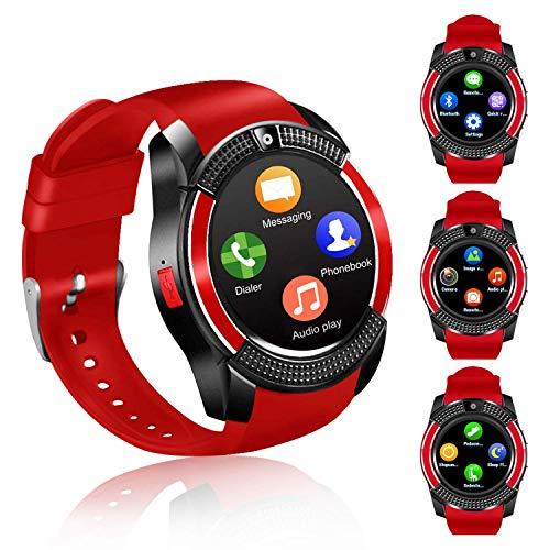 Smartwatch, Reloj Inteligente con Ranura para Tarjeta SIM Cámara Pulsera Actividad, Reloj Iinteligente Mujer Hombre niña niños para Xiaomi Redmi Huawei Samsung Hornor Teléfono Android iOS (Rojo)