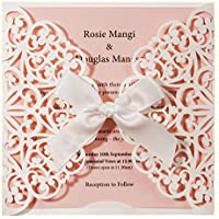 Wishmade 20pcs invitaciones de boda con corte láser cuadrado blanco y rosa tarjetas con lazo de encaje manga para bebé novia ducha cumpleaños compromiso Quinceanera (juego de 20 piezas)