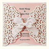 Wishmade 20pcs Hochzeits Einladungskarten Für Geburtstag Taufe Weiß & Rosa Blumen Lasercut Design Mit Seidenband Schleife Set inkl Umschläge und Aufkleber