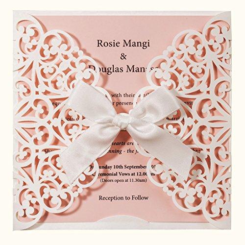 Wishmade 20x Cartes d'invitation de mariage Blanc et Rose avec nœud en dentelle manches Invitations...