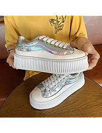 Zapatos de mujer de suela gruesa con el mismo párrafo bajo para ayudar a los deportes casuales para mujer (color: plateado)