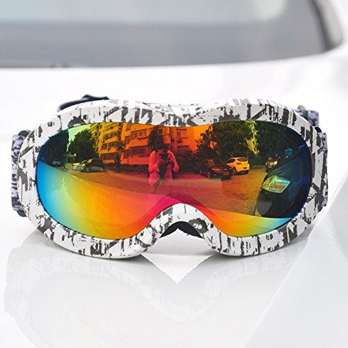 LYLhmj Skibrille Kinder Ski Snowboard Brille Brillenträger Snowboardbrille Schneebrille Verspiegelt - Für Junior Jungen Mädchen Baby Teenager - 3 4 5 6 7 8 9 10 11 12 Jahre - OTG Anti-UV Anti-Fog (Graffiti-2)