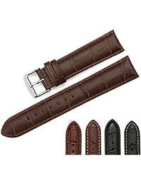 iStrap 22mm Cuero Genuino Correa del Reloj Pulsera de Reloj Hebilla del Reloj Acero Inoxidable Watch Band Strap Marrón