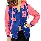 CBKTTRADE Damen College Jacke Old School Jacket Sweat Jacke Fox Hooded (L/XL, Fox Blau Pink)