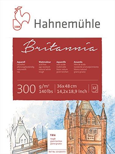 Hahnemühle Aquarellkarton Britannia, rau, 300 g/m², 36 x 48 cm, 12 Blatt