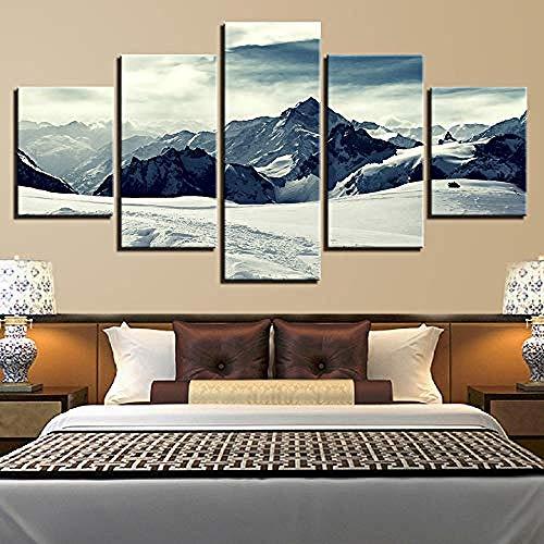 FSKJWLH Lienzo Pinturas Lienzo HD Impresiones Carteles Arte de la Pared de la Sala 5 Piezas Montañas Nevadas Pinturas Paisaje Fotos Decoración para el hogar enmarcada @ 30x40_30x60_30x80cm enmarcada