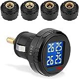 Excelvan CL201+SO - TPMS Manómetro Monitor de Presión de Neumáticos con 4 SO Sensores Exteriores para Neumáticos de Coche Menos de 87 PSI (6 bar), LED Pantalla, Advertencia Automático, Carga por Puerto USB y Solar