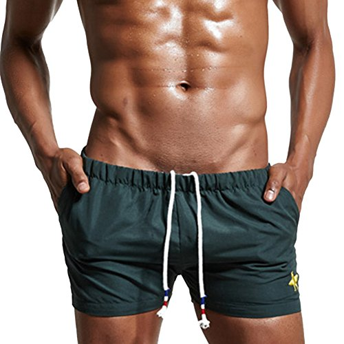 Feicuan Herren Solid Color Badeshorts Swim Trunks with Pockets -L12 (Boardshorts Nylon Drawstring)