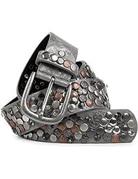 styleBREAKER Nietengürtel im Vintage Design mit echtem Leder, verschiedenen Nieten und Strass, kürzbar, Damen 03010051