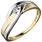 JOBO Damen Ring 333 Gold Gelbgold bicolor 1 Zirkonia Goldring Größe 60