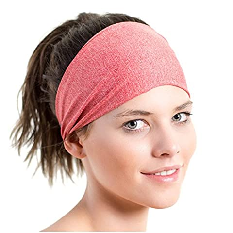 Sports Headband - Lightweight, Wide & Moisture Wicking - the Ideal Red Running Sweatband - Designed for Women - by Red Dust Active