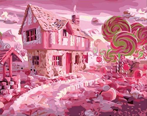 ZO MEBER Pink Candy Town DIY Malerei Leinwand Home Dekoration Wandkunst 40X50 cm