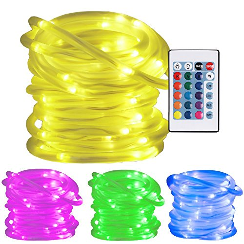 Ustellar RGB 10m LED Lichterschlauch mit Fernbedienung Timer, 100LED Lichtschlauch , Wasserfest IP65 Lichterkette , 8 Helligkeit 4 Leuchtmodi 16 Farben , Memory-Funktion , Farbewechsel Batteriebetrieben (nicht enthält) Dekolicht für Außen Innen Weihnachten DIY Deko