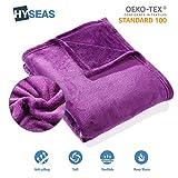 HYSEAS Kuscheldecke 180 cm x 220 cm, violett, aus samtweichem Plüsch, Öko-Tex gepr üft, Fleecedecke/Sofadecke/Wohndecke/Tagesdecke