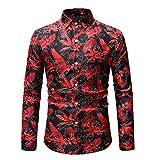 POIUDE Männer Button Langarm-Druckbild Größe Lässig Nähen Stitching Revers Top Bluse Shirts(rot, XXXL)