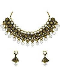 Zaveri Pearls Antique Look Designer Necklace Set With Pearl Drop - ZPFK5633