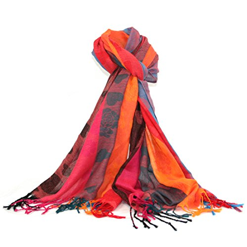Damen Herz Design Print Fashion Pashmina Schal von lilyrosa Gr. One size, Red, Pink, Orange & blue (Herz Valentine Schal)