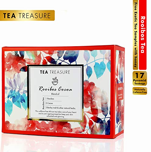 TeaTreasure Rooibos Cocoa Red Tea - Caffeine Free Antioxidants Rich South African Tea - 1 Teabox (17 Pyramid Tea Bags)