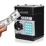 SAFETYON Hucha Cajero Automatico para Niños Juguete Dinero Banco Monedas Caja Ahorro de Dinero de Código de 4 Dígitos Regalo de Cumpleaños Negro