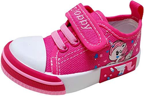 gibra® Freizeitschuhe Sneaker Stoffschuhe für Babys, Kleinkinder, Kinder, Art. 5847, mit Klettverschluss, pink, Gr. 19