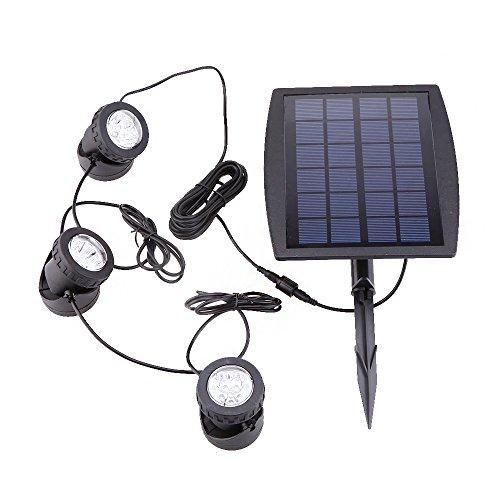 Lixada Solarspots, 3 Scheinwerfer, 18 LEDs Unterwasser Lampen Außenbeleuchtung 3 Scheinwerfer-scheinwerfer