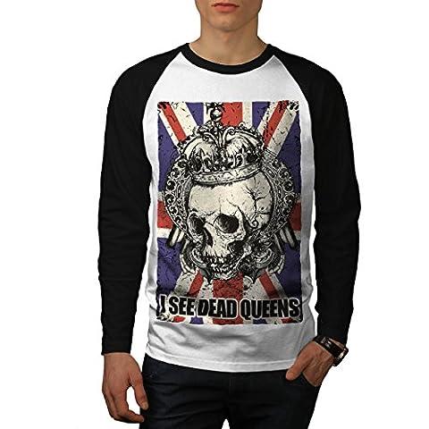 Schädel Tot Königin Metall Vereinigtes Königreich Skelett Vereinigtes Königreich Herren M Baseball lange Ärmel T-Shirt | Wellcoda