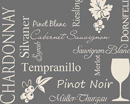 GRAZDesign 620121_40_816 Wandtattoo Weinsorten für Küchen-Wand | Küchen-Sprüche für Küchenrückwand | Wandsticker aus Markenfolie - Auch für Esszimmer (50x40cm//816 Antique White)