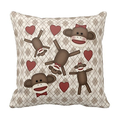Hectwya Generic Custom Pillow Cover Cotton 18 X 18 Twin Sides Adorable Sock Monkey Home Decor Items Pillowcases (Sock Monkey Orange)